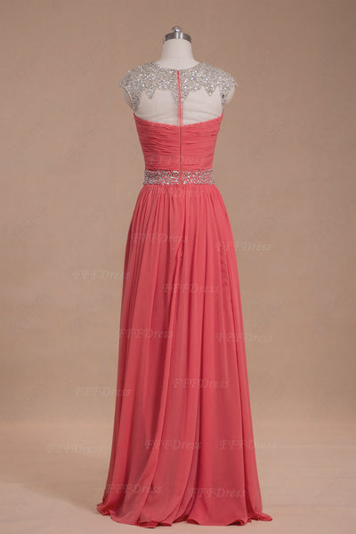 Modest Beaded Crystals Coral Prom Dresses Long