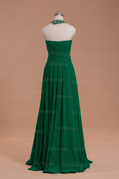 Halter Emerald Prom Dress with Slit