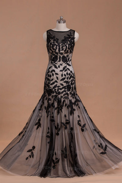 Modest black champagne long prom dress mother of the bride dresses