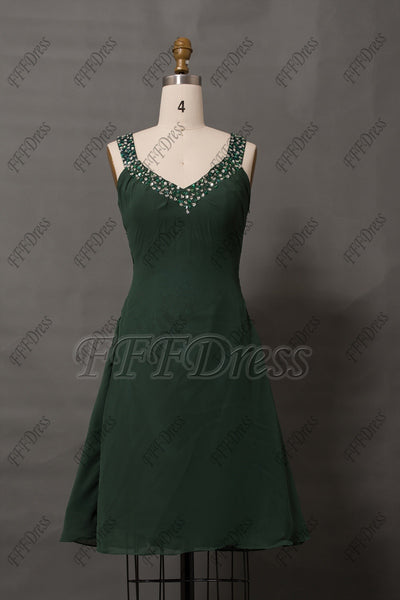 Forest Green beaded cut out homecoming dresses