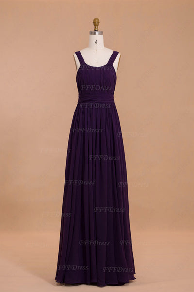 Purple long bridesmaid dresses square neckline