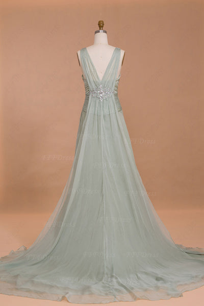 Light green crystal long evening dresses