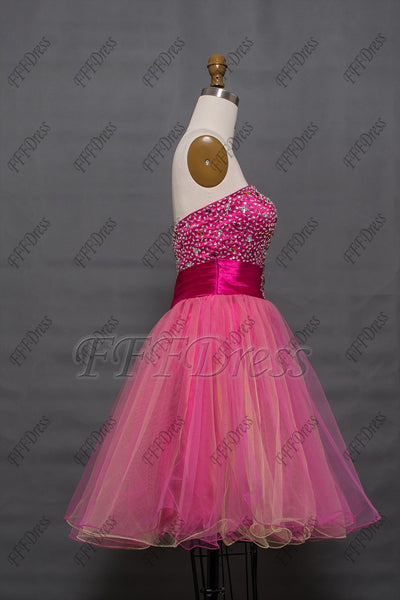 Beaded hot pink short prom dresses Homecoming dresses