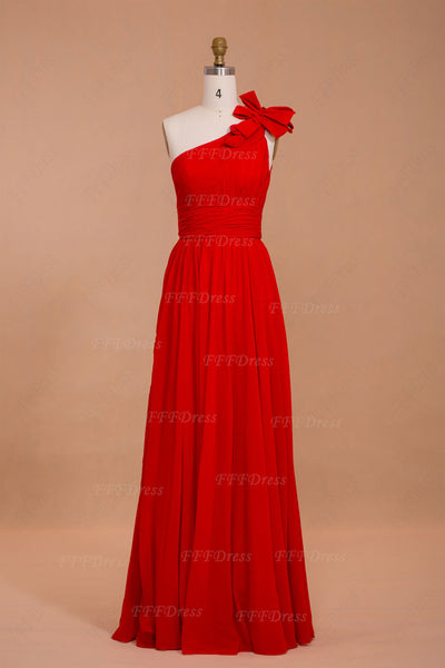 One shoulder red chiffon long prom dresses