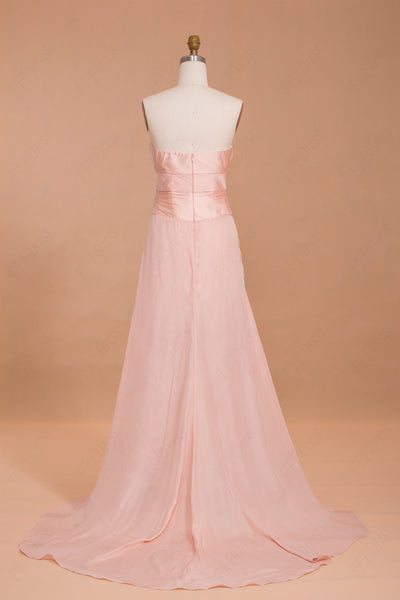 Notched neck peah pink long prom dress