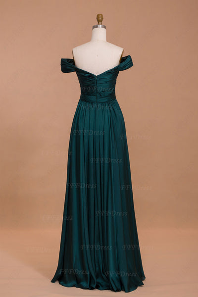 Dark green Off the shoulder long prom dresses