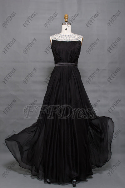 Crystal black prom dresses long