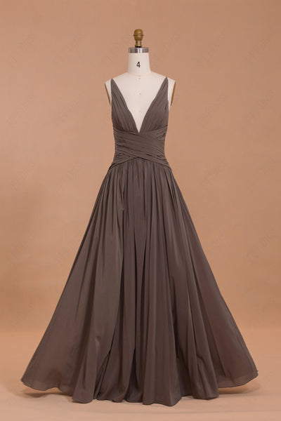 V Neck Brown Bridesmaid Dresses long