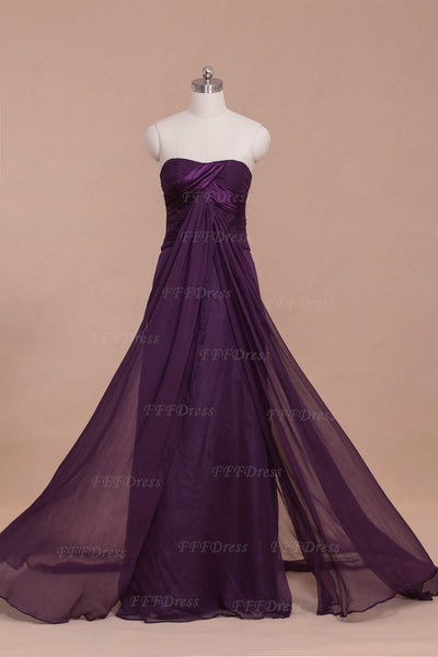 Purple Strapless Flowy Long Prom Dresses