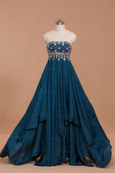 Teal Crystal prom dresses long with overlays