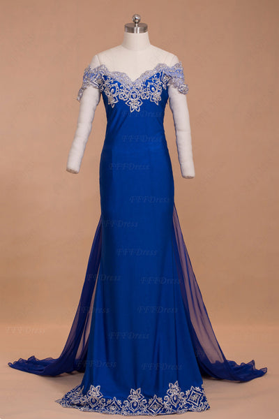 Off the shoulder royal blue mermaid prom dresses long with train