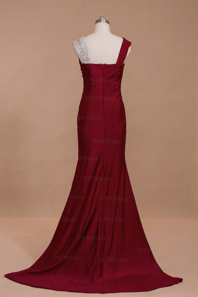 Burgundy mermaid crystal long prom dresses with slit