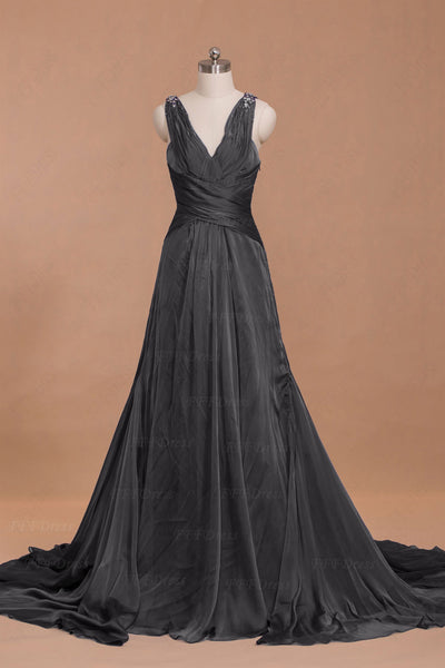 Charcoal Grey Crystals Formal Dresses Maid of Honor Dresses
