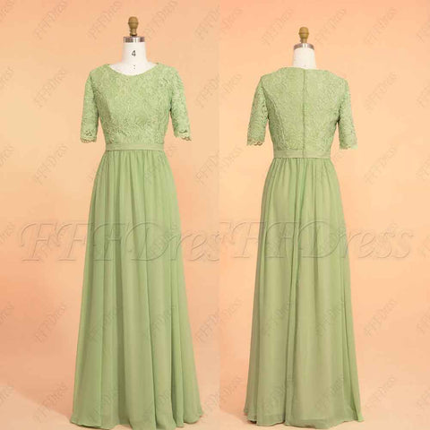 Sage Green Modest Bridesmaid Dresses with elbow sleeves
