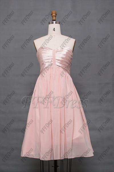 Light pink bridesmaid dresses knee length strapless
