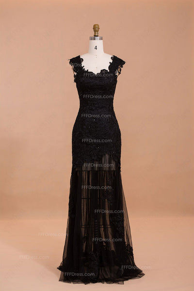 Trumpet see through black lace prom dresses long
