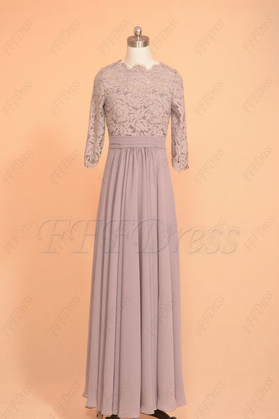 Dusty purple scalloped modest bridesmaid dresses with sleeves