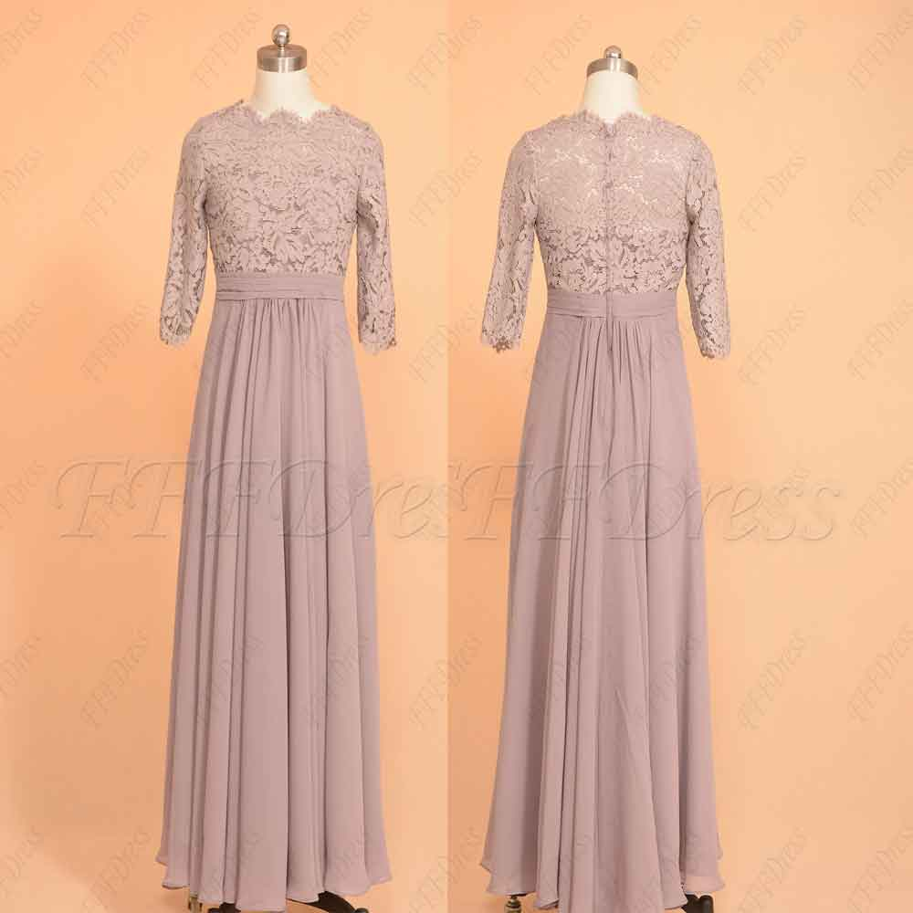 6a41a5e623e5 Dusty purple scalloped modest bridesmaid dresses with sleeves – MyPromDress