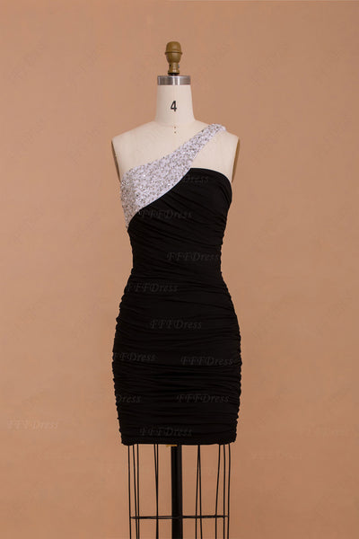 Crystals black and white homecoming dresses short prom dresses