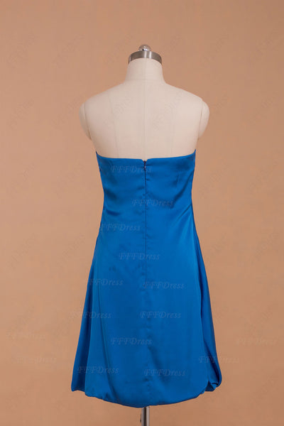 Strapless royal blue short homecoming dresses