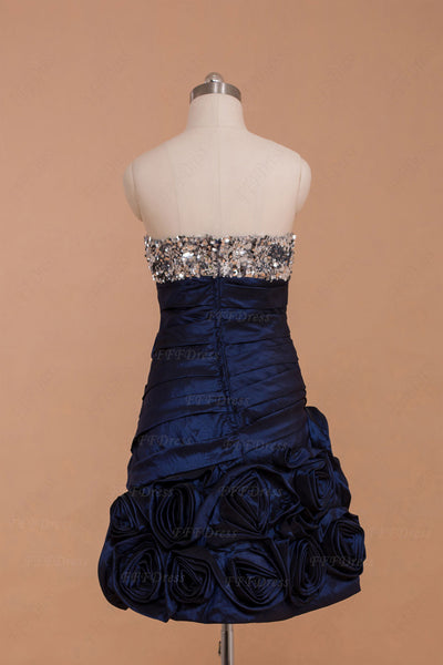 Silver sequins Navy blue Short homecoming dresses