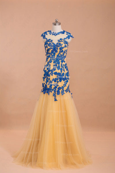 Modest Gold Blue Mermaid Prom Dresses cap sleeves