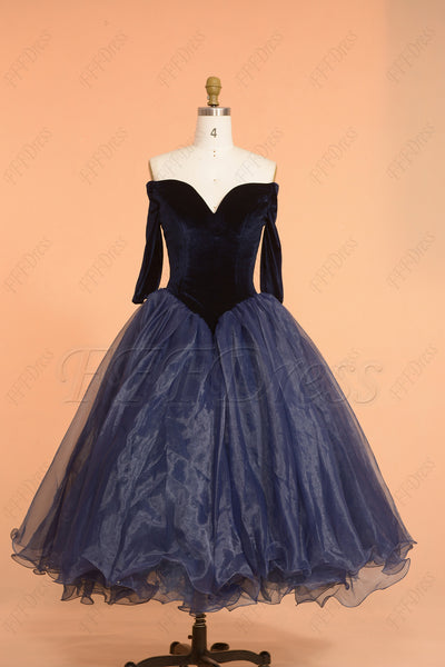 Navy blue vintage prom dresses tea length off the shoulder homecoming dress