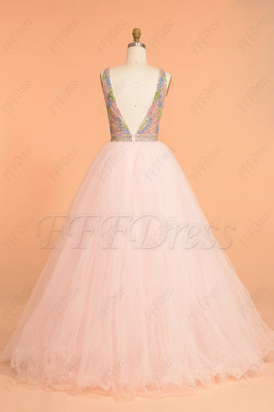 Crystal Beaded Pink Backless Prom Dress Long Ball Gown