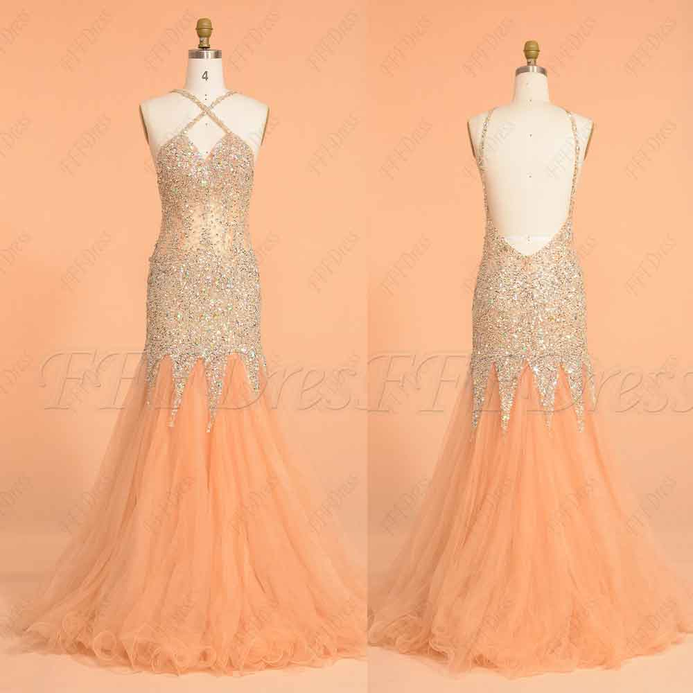 Backless Beaded Mermaid Long Prom Dresses Champagne