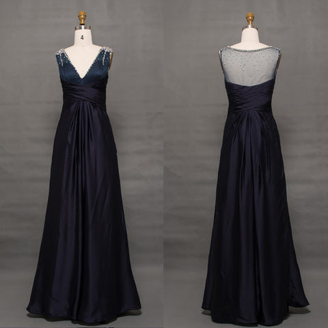 Midnight Blue Elegant Long Evening Dresses