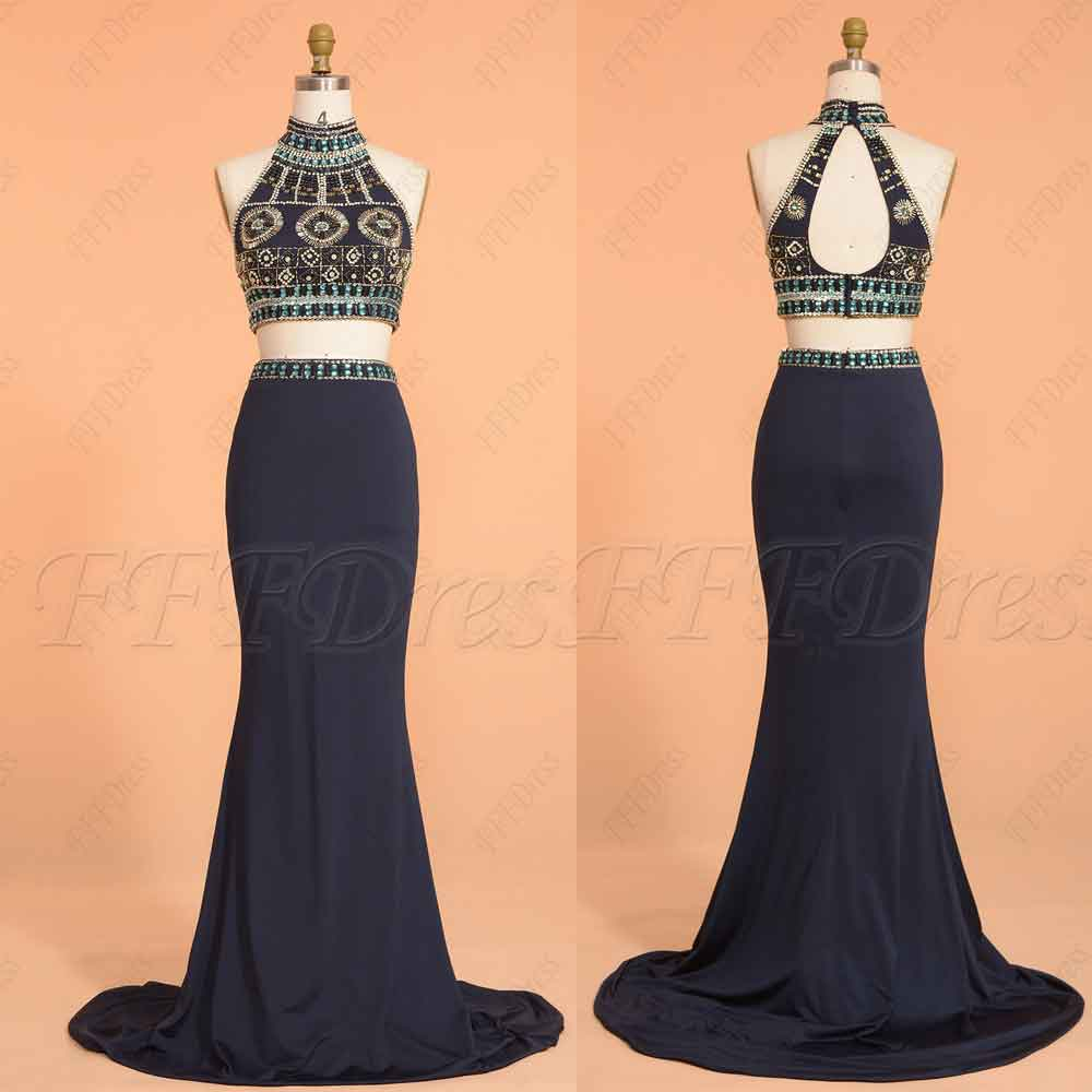 10a75841a72e7 ... حفلة موسيقية فساتين مسابقة ملكة طويلة. Beaded Navy Blue Two Piece Prom  Dresses Long Mermaid Prom Dress