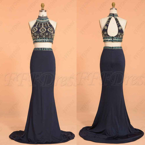 Beaded Navy Blue Two Piece Prom Dresses Long Mermaid Prom Dress