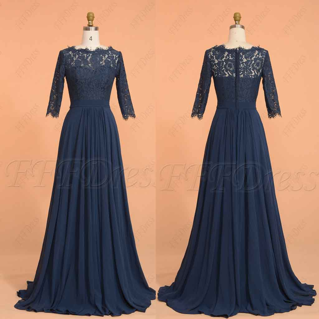 Navy blue modest prom dresses with sleeves long