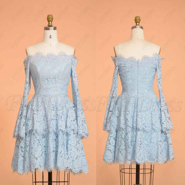Light blue off the shoulder tiered short prom dress with long sleeves