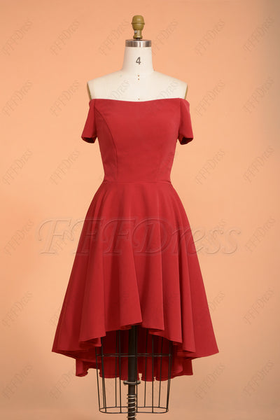 Claret Off the shoulder High low homecoming dress short sleeves