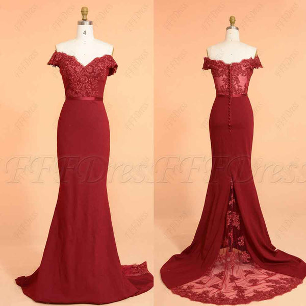 Mermaid Claret Off the Shoulder Prom Dresses