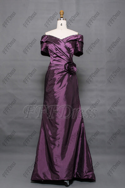 Purple off the shoulder mother of the bride dress with sleeves
