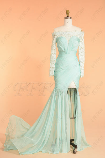 Mint green backless pageant evening dress with slit