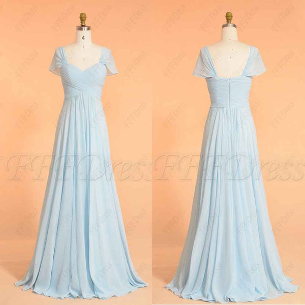 Light blue long bridesmaid dresses