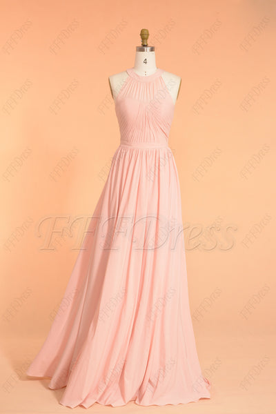 Light pink halter long bridesmaid dress