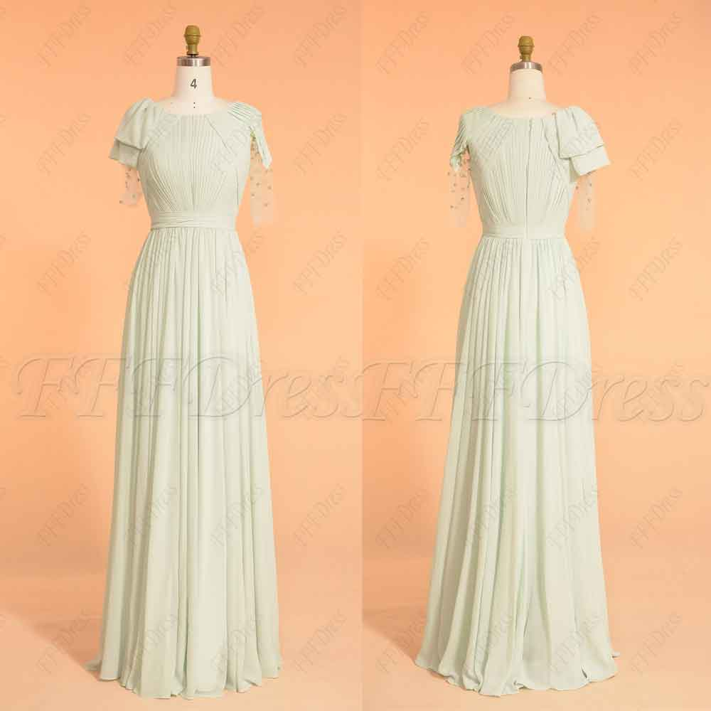 Pastel green modest prom dresses elbow sleeves