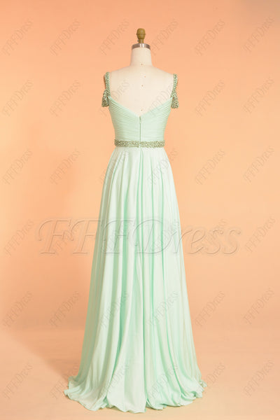 Pastel green beaded long prom dresses off the shoulder