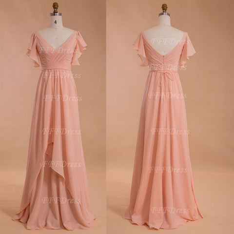 Modest peach color bridesmaid dress with sleeves