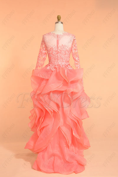 Coral High Low Prom Dresses Long Sleeves Homecoming Dresses