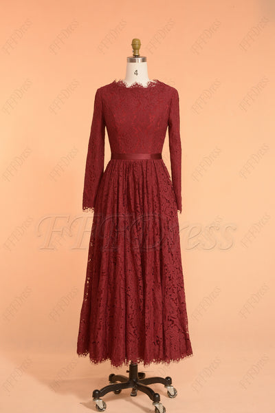 Burgundy Modest Bridesmaid Dresses Long Sleeves