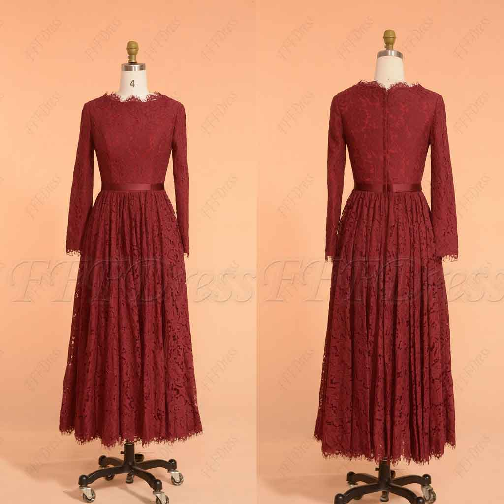 f17dfd46f00c Burgundy Modest Bridesmaid Dresses Long Sleeves – MyPromDress
