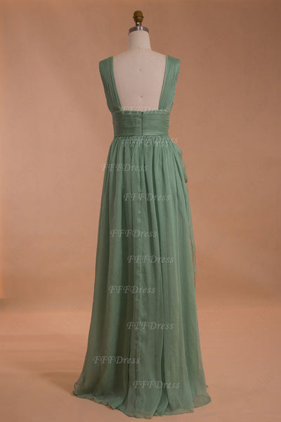Dusty green long prom dresses with slit