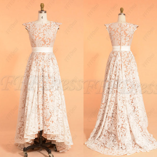 High low modest prom dresses champagne white cap sleeves