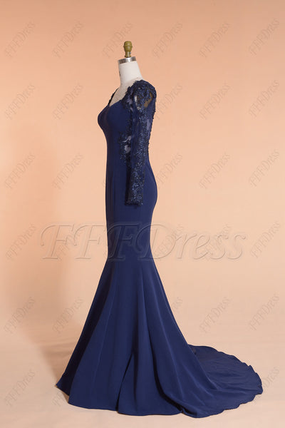 Mermaid Navy Blue Longsleeve Prom Dresses