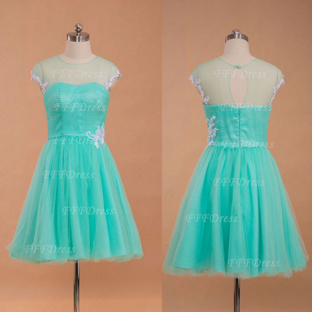 Mint green short prom dress with white lace – MyPromDress